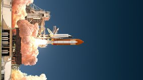 Vertical video of space shuttle launch. Realistic and high detailed 3D animation. 4K. Ultra high definition. 3840x2160.