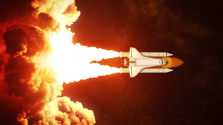 Vertical video of night launch of space shuttle. Slow motion. 4K. 3840x2160. UHD. 3D animation. Royalty-Free Stock Footage #1062234526