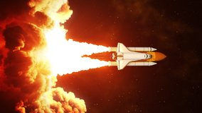 Vertical video of night launch of space shuttle. Slow motion. 4K. 3840x2160. UHD. 3D animation.