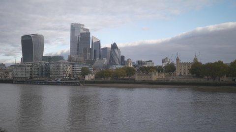 London, England, UK – November 07 2020: High raise building in London City across Thames River.
