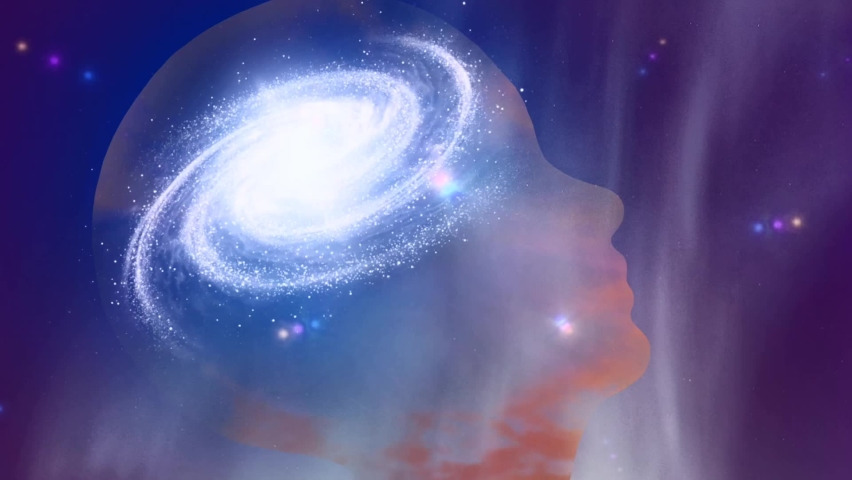 Universal mind. Galaxy inside transparent human head. High quality FullHD footage Royalty-Free Stock Footage #1062247408