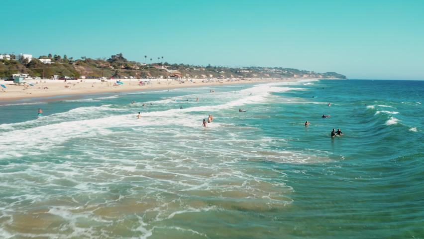 Cinematic Aerial of Zuma Beach in Malibu, California