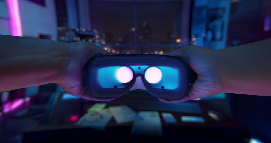 POV Mans Arms Putting Virtual Reality Headset Exploring Reality Immersive Technologies XR VR AR MR Hybrid Reality Depression Escape Reality Escapism Gamer Game New Technologies Future 8k RED | Shutterstock HD Video #1062261394