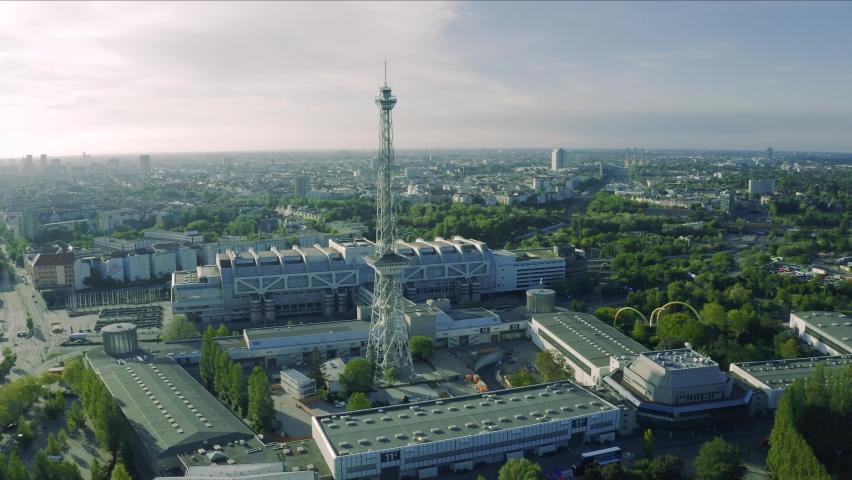 Berlin. TV Tower. Funkturm. Aerial view. Eiffel tower in West-Berlin. Aerial view. Germany
