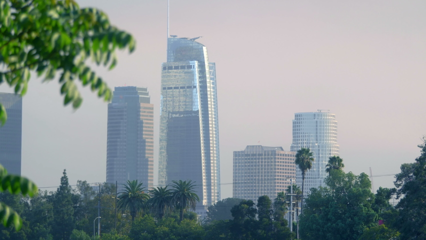 Los Angeles downtown view in 4k slow motion 60fps