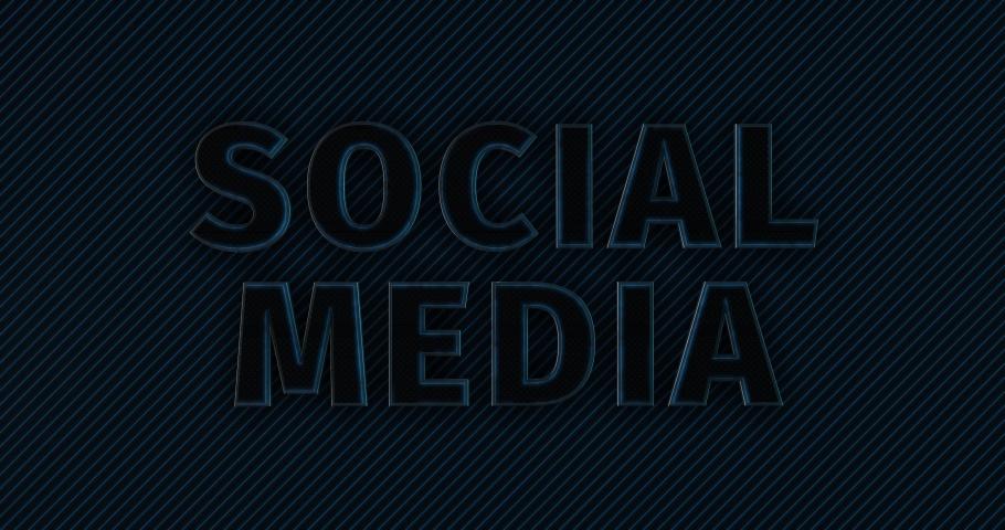 Social Media. Modern 3D Promotion Intro. Metal Text Logo. Blue glow. Black Background
