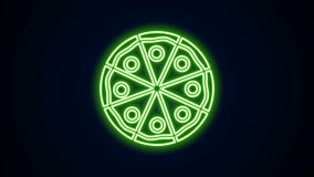 Glowing neon line Pizza icon isolated on black background. Fast food menu. 4K Video motion graphic animation.
