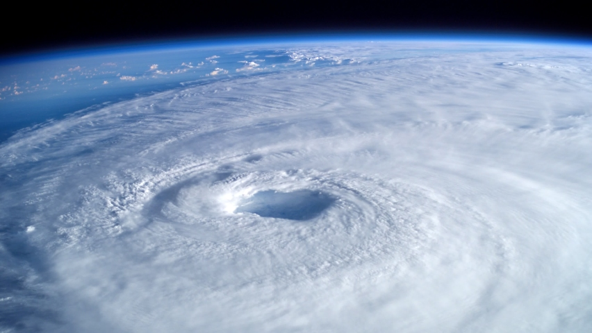 Perspective View Animation Of Giant Hurricane Seen From Outer Space. Elements of this image furnished by NASA Royalty-Free Stock Footage #1062330955