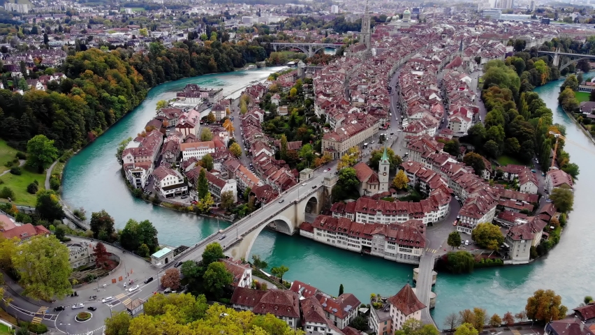 Aerial view over the city of Bern - the capital city of Switzerland - the historic district from above Royalty-Free Stock Footage #1062352567