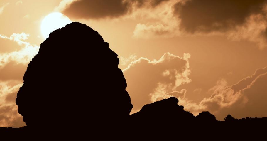 Madain Saleh Petra Saudi Arabia Cloudy Sunset Timelapse