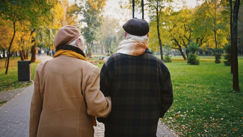 Aged couple, gray-haired wife and husband in elegant outerwear are hugging each other and smiling during romantic walk in the park. Autumn day. Tracking shot, back view. Close up, slow motion