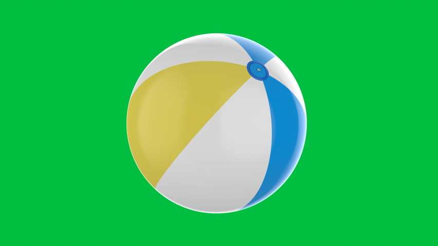3d rendering colorful beach ball isolated on green screen 4k footage