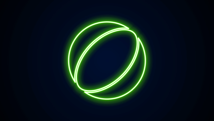 Glowing neon line Beach ball icon isolated on black background. 4K Video motion graphic animation.