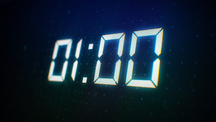 Close-up of 60 Seconds countdown White numbers on a Computer Screen in Defocus. 1 minute countdown. 30 or 10 seconds. White digits on a Black Background Royalty-Free Stock Footage #1062390034