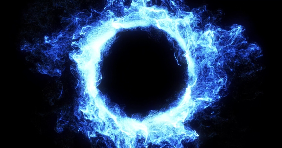 Abstract blue energy vortex for logo reveal. swirling particles motion graphic for easy overlay. 2 clips available, 1 loop and 1 in-out sequence. swirling, twister effect. 3D render, 4K loop