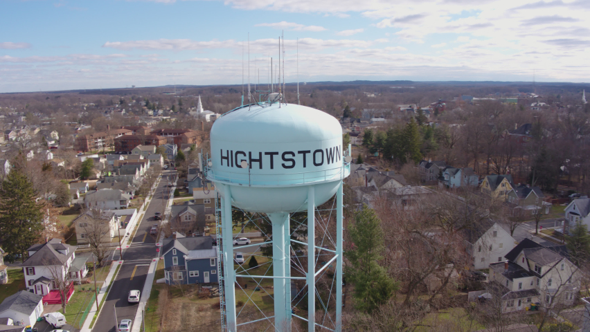Aerial Drone Shot Flying Past Water Tower in Suburban Hightstown New Jersey | Shutterstock HD Video #1062398725