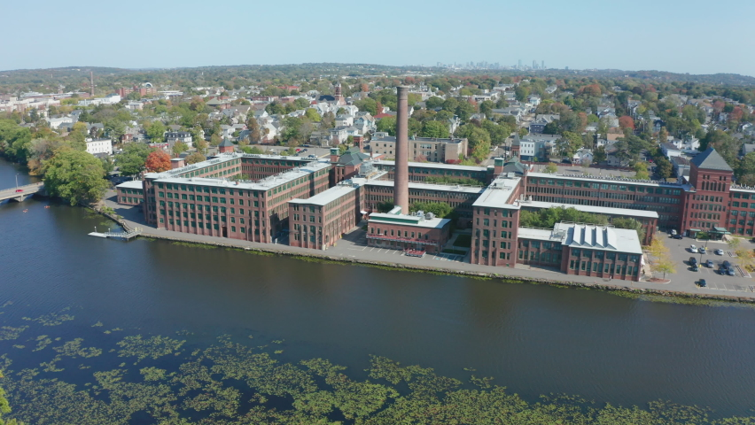 Aerial Drone Shot Ascending next to Watch Factory in Waltham Massachusetts | Shutterstock HD Video #1062398728