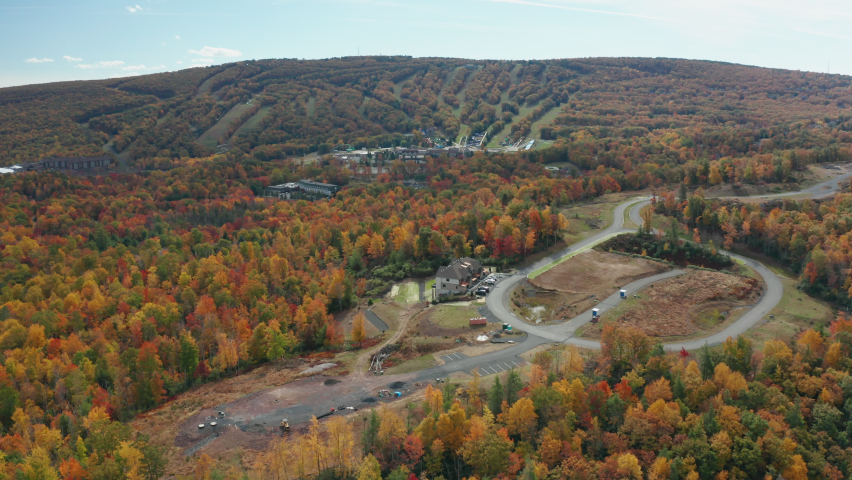 Aerial Drone Shot of Mount Pocono Ski Resort During Fall with Peak Leaf Colors | Shutterstock HD Video #1062398797