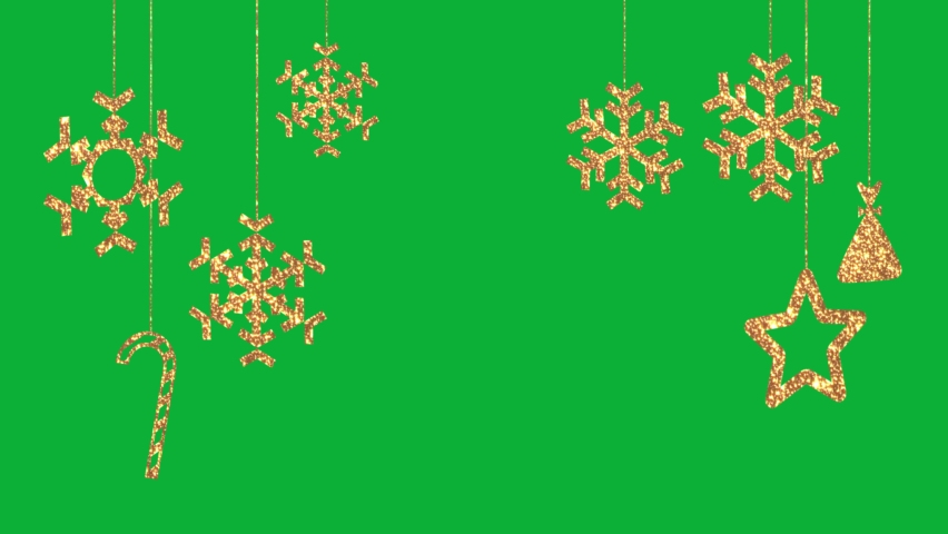 Golden Christmas Ornaments hanging 4K animation Package on Green screen background - Holidays Glowing gold Decoration Ornaments on Chroma key background Royalty-Free Stock Footage #1062400381