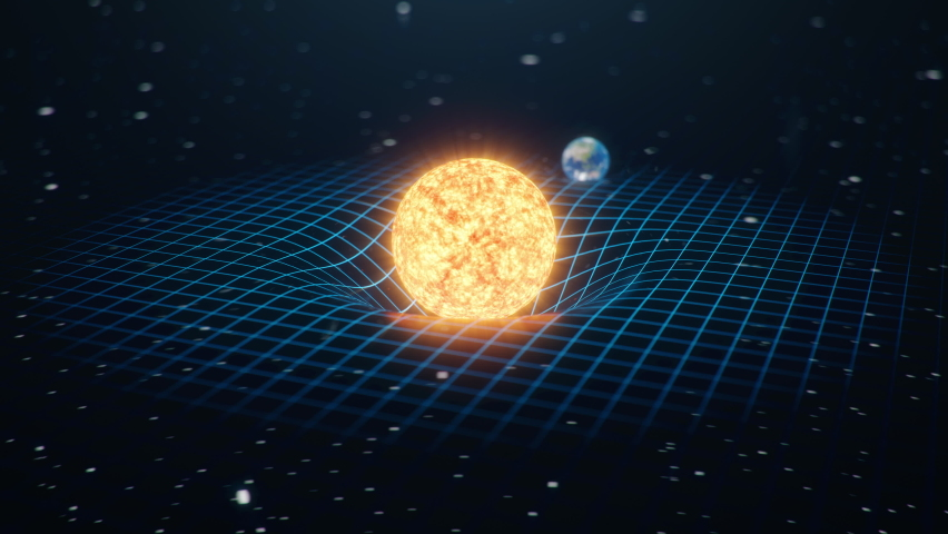 Gravity Sun and Earth bends space around it, distorted spacetime Concept gravity deforms space time grid around universe. Spacetime curvature. 4K 3D Animation