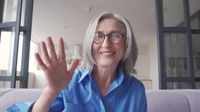 Happy old senior grey-haired woman grandmother waving hand talking to web cam video conference calling enjoying social distance party, virtual family online chat meeting at home, webcam view.