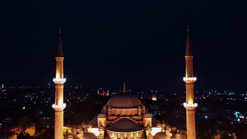 Aerial Night view of Fatih Mosque in Istanbul. 4K Footage in Turkey   Shutterstock HD Video #1062413662