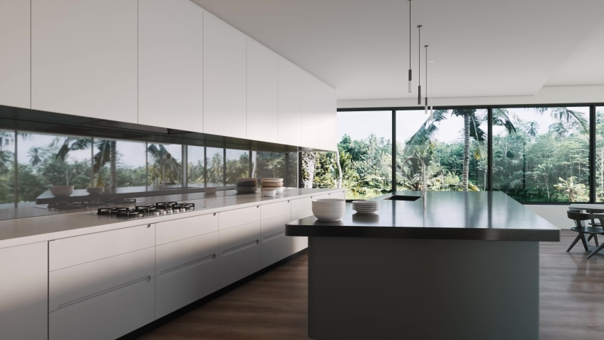Modern kitchen interior with large windows. Modern kitchen with tropical view. 3d visualization Royalty-Free Stock Footage #1062421915