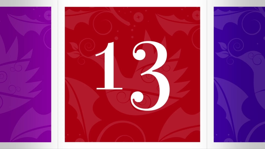 Christmas Advent Calendar 3D Box Reveals Numbered 13-24. Twelve Illustrated Motion Graphics Animate Open to Reveal Chroma Green Screen. Royalty-Free Stock Footage #1062436309