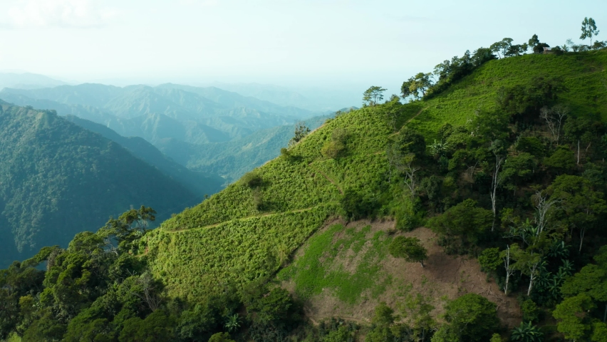 Drone shot flying over beautiful mountain ridge and clouds in rural jungle bush forest of Sierra Nevada Colombia viewing the trees, plants, fields, coffee plantation and mountains 4k parallax shot