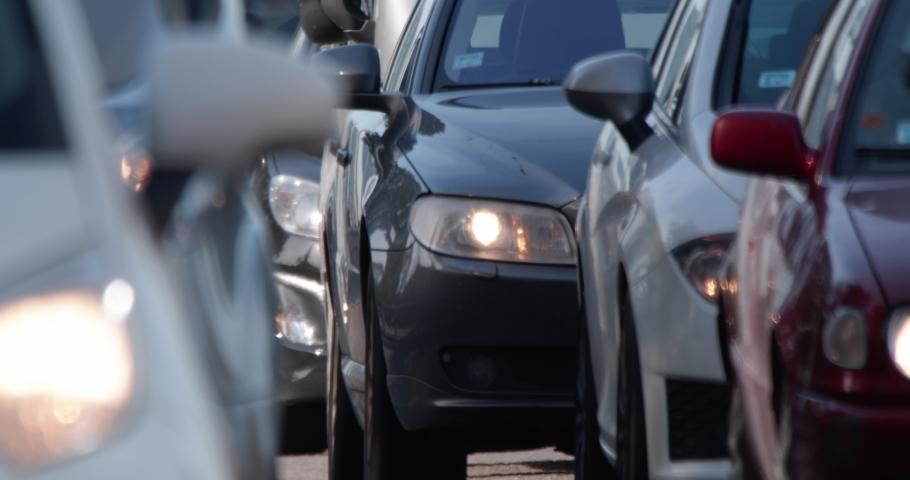 4K - Car traffic jam. Close-up Royalty-Free Stock Footage #1062462709
