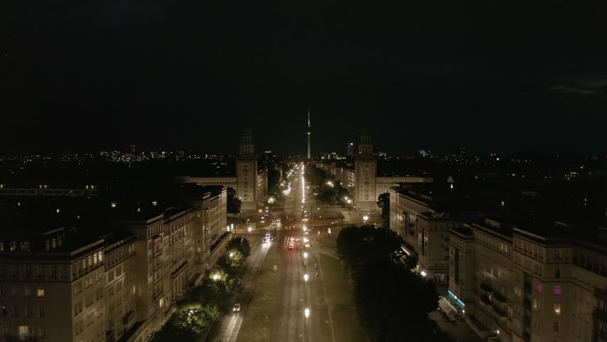 Aerial View of Empty Karl-Marx-Allee Street at Night in Berlin, Germany during COVID 19 Coronavirus Pandemic