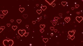 Loop video. Abstract red hearts on dark background. Concept: valentine's day, anniversary, mother's day, marriage, invitation e-card. Seamless loop 4k video.