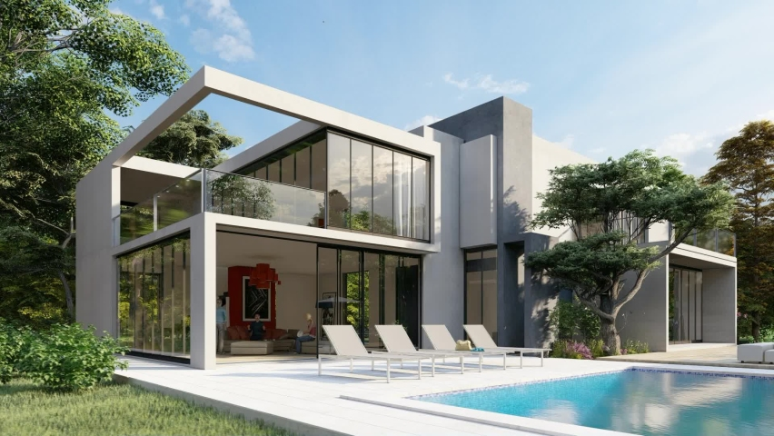 3D animation with a big contemporary house with a pool and a garden