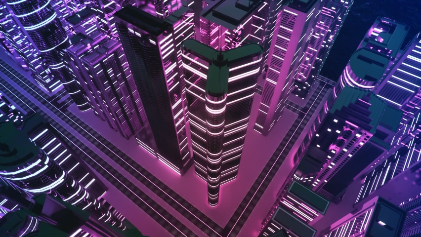 3d render of abstract bright city with skyscrapers. Simple forms of buildings in daylight. Forward camera movement.top of the abstract 3D city of white. cityscape 3d rendering night time.   Shutterstock HD Video #1062529093