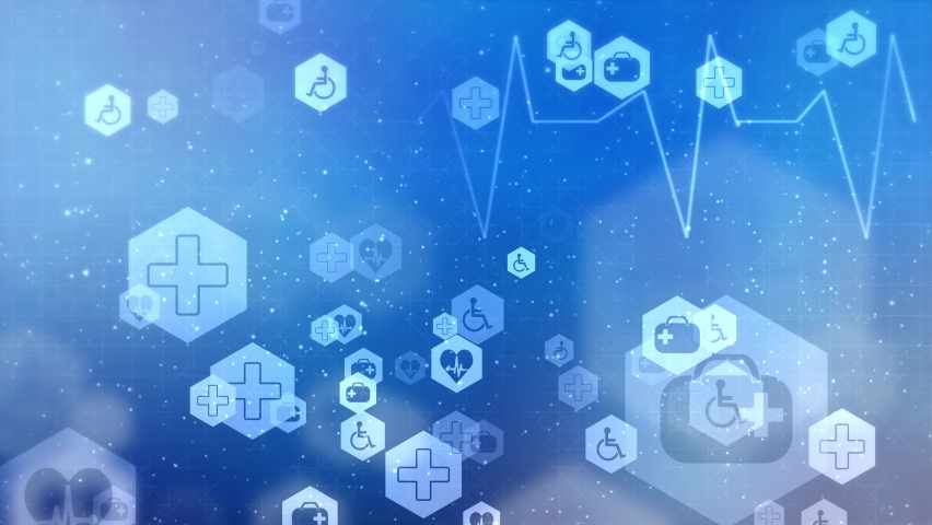 Health care and medical icons loop background from hexagons. Geometric elements of design for modern communications, medicine, science and digital technology. Hexagon pattern Royalty-Free Stock Footage #1062529204