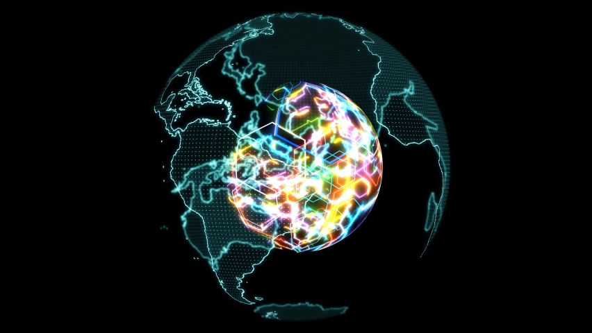 World map digital light blue and abstract colorful core powerful rainbow energy   Shutterstock HD Video #1062529366