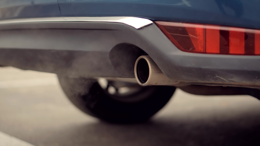 Ecology Problem With Co2 Dioxide Emission.Gasoline Or Diesel Car Exhaust Fumes Ecology Pollution.Transport Tailpipe Muffler Smog.Eco Problem On Toxic Gas.Air Pollution Smoke Car Exhaust Pipe Muffler.