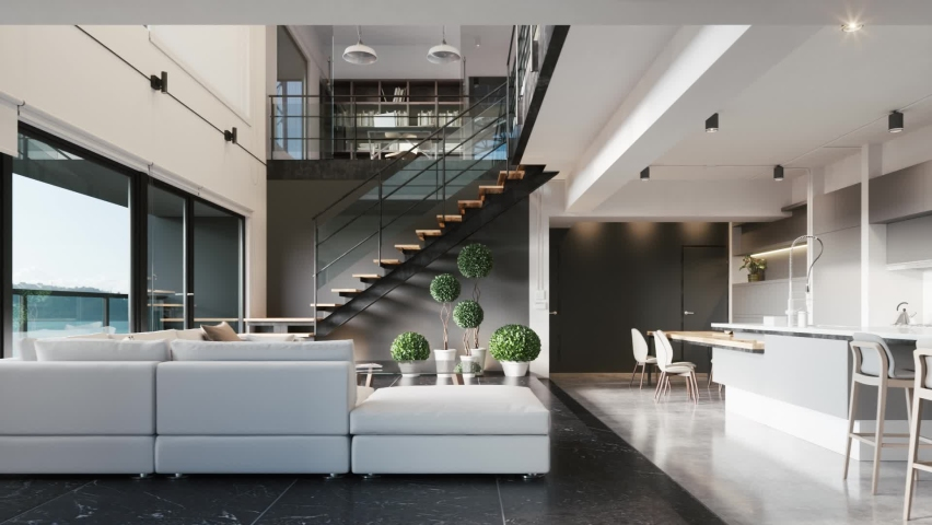 Modern kitchen with living room area. luxury living room design. 3d visualization