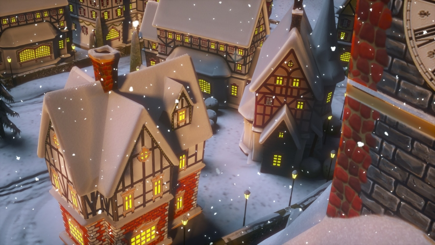Christmas and Happy New Year 2021 animation. View of a small town or village on a winter night at Christmas. Santa Claus carries a bag with gifts.