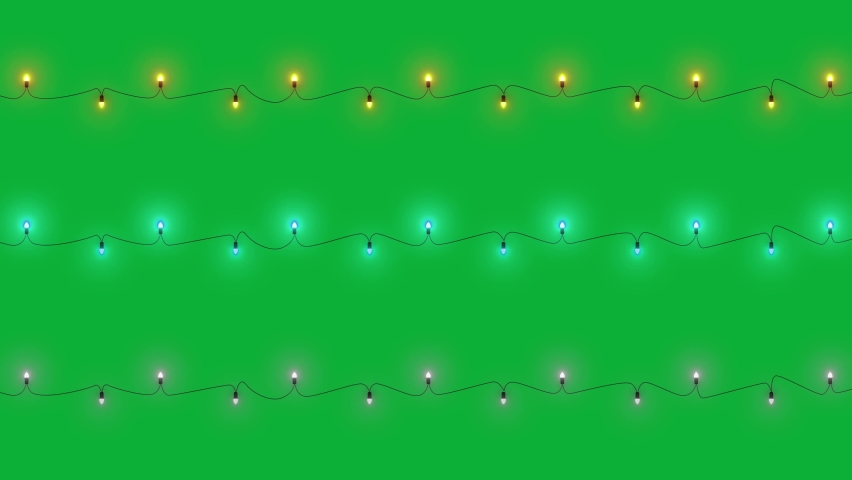 Christmas Lights Package -  Yellow - Blue and white colors - ( Endless loop ) animation - Christmas Lights wires on Green screen background   ( Use Hue/Saturation Effect To Change lights color )  | Shutterstock HD Video #1062554764