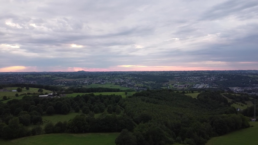 Aerial view of a sunset in the Hautes Fagnes Royalty-Free Stock Footage #1062573106