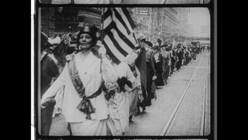 October 23, 1915. New York City. Over 25,000 Women Marched up Fifth Avenue in New York City to advocate for Women's Suffrage and the Right To Vote. 4K Overscan of 16mm Film Print.