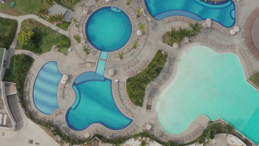 Different Shapes of Pools, Top Down Aerial View, Mexico, Acapulco Bay