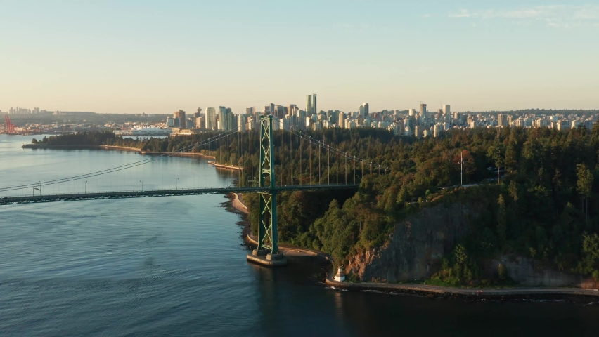 Beautiful Cinematic Shot of the Lions Gate Bridge during Sunset Moving from Side to Side in Vancouver Canada