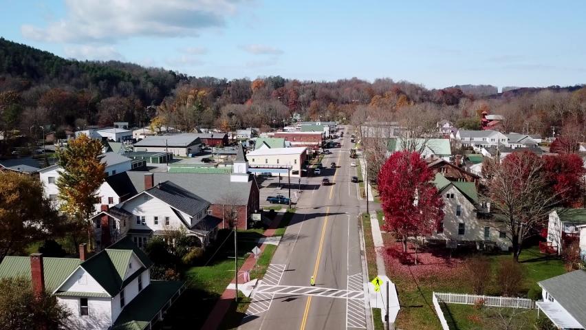 Aerial Damascus Virginia, Damascus Va in Fall, Washington County Virginia