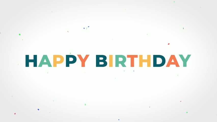 Happy birthday colorful text animation on light background Royalty-Free Stock Footage #1062605359