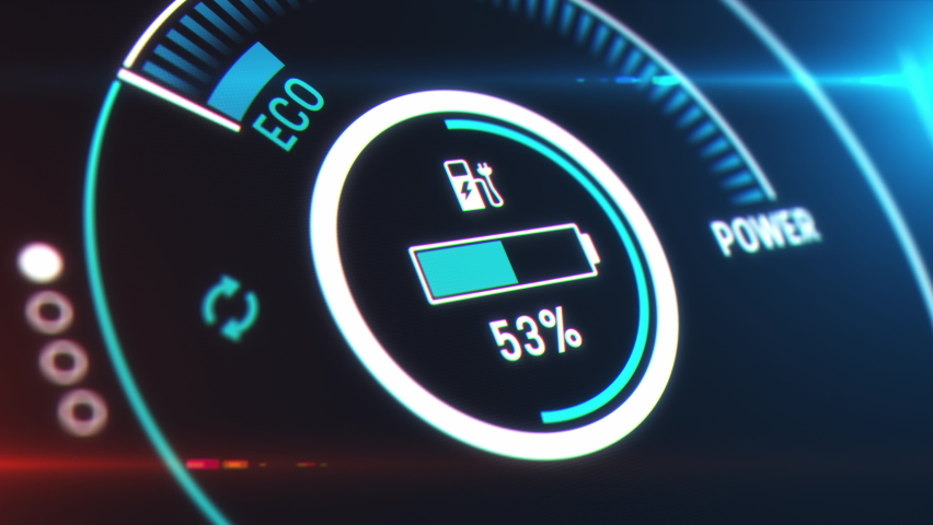 Electric car dashboard display. Electric Car Charging Indicating the Progress of the Charging, electric vehicle battery indicator showing an increasing battery charge