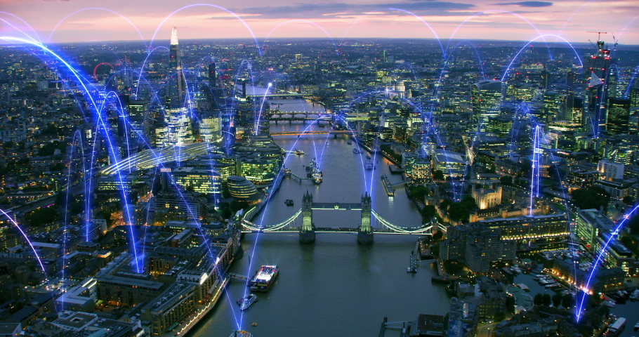 Wireless connections over London. Holographic lines connecting a smart city. Futuristic network. Arch. Representing concepts as: Smart city, IOT, AI, cloud computing, wireless technology. Royalty-Free Stock Footage #1062614341