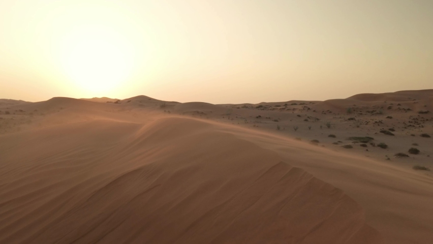 Strong wind blowing sand over sand dune during late afternoon.   Shutterstock HD Video #1062642301