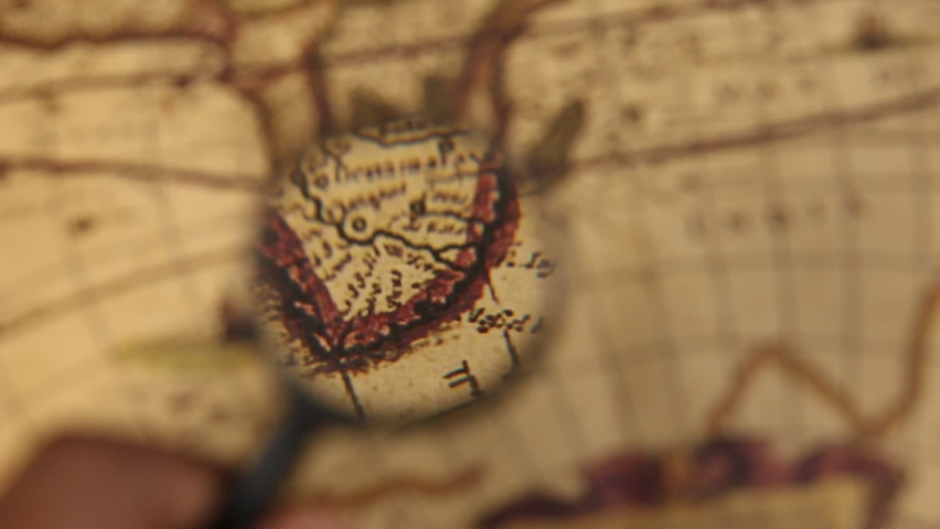 Close up of an old vintage map with map markings and directions  Royalty-Free Stock Footage #1062647044